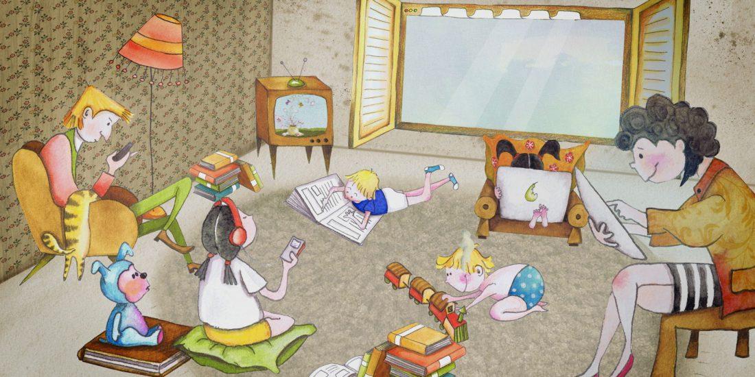 hansmann animation familie sitzt im wohnzimmer